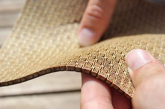 Lasercut flexible double curvature wood surface
