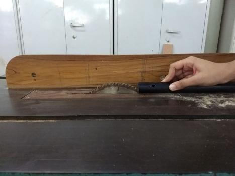 Awanee making a slot in PVC tube