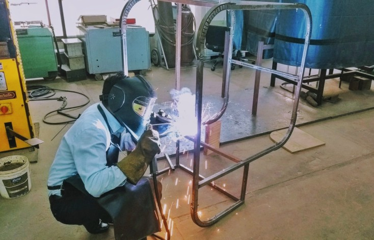 Swayam's metal enclosure getting welded