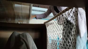Macreme Curtain being installed