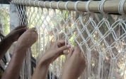 Macrame curtain in making